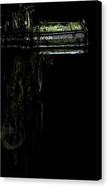 Canvas Print featuring the photograph T Shirt Deconstruct Green Dodge Bumper by Glenda Wright