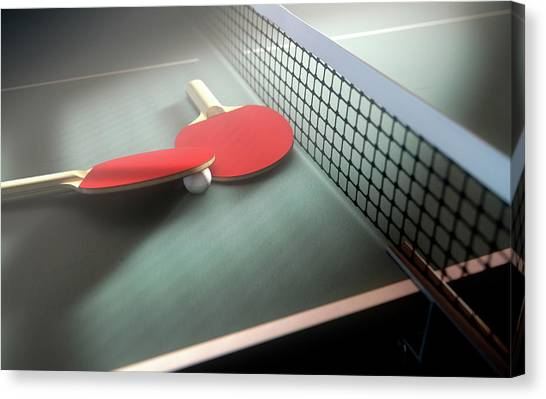 Tennis Racquet Canvas Print - Table Tennis Table And Paddles by Allan Swart