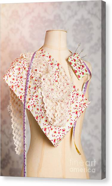 Dummies Canvas Print - Tailors Dummy With Colour Swatches by Amanda Elwell