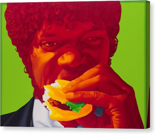 Pulp Fiction Canvas Print - Tasty Burger by Ellen Patton