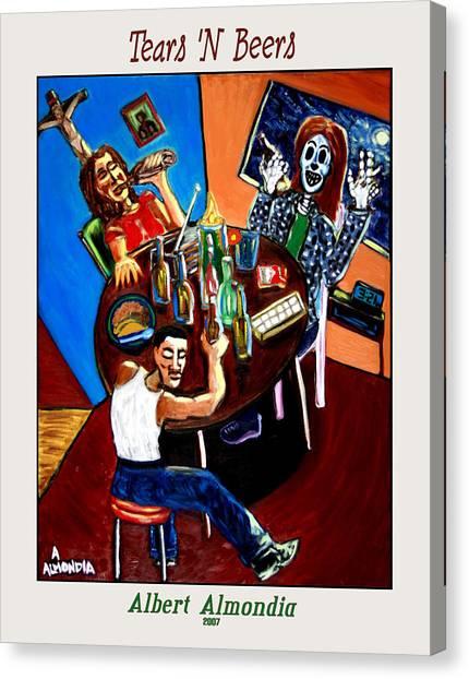 Tears 'n Beers Canvas Print by Albert Almondia