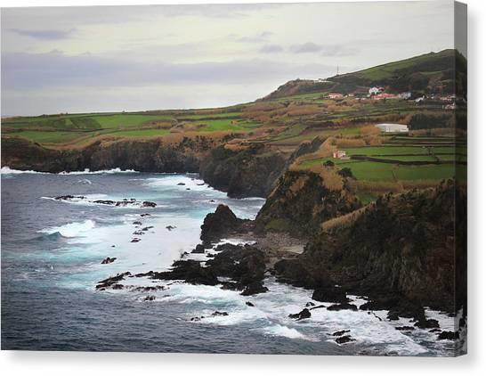 Canvas Print featuring the photograph Terceira Coastline by Kelly Hazel