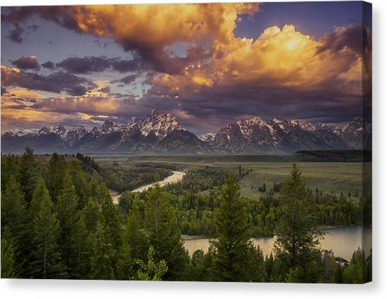 Teton Canvas Print - Teton Cloudburst by Andrew Soundarajan