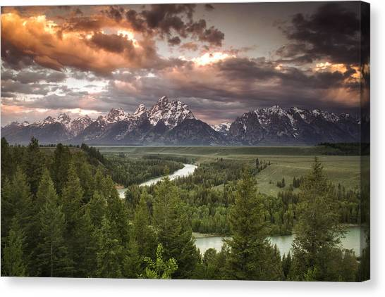 Cloud Forests Canvas Print - Teton Drama by Andrew Soundarajan