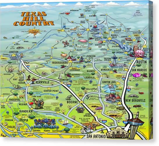 Texas Hill Country Cartoon Map Canvas Print