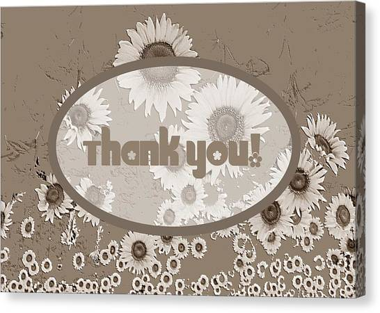 Canvas Print featuring the digital art Thank You Card Daisies by Deleas Kilgore