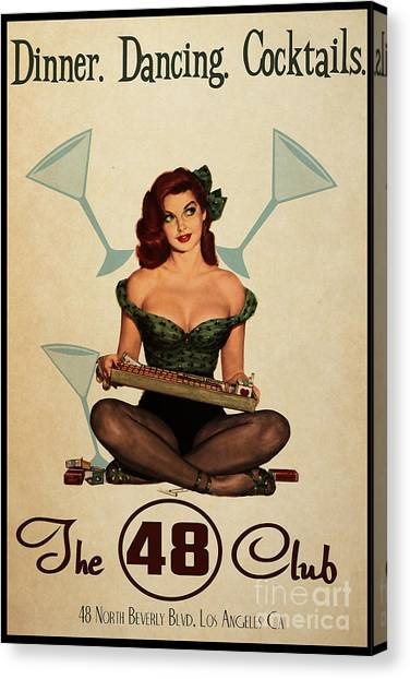 Pin-up Canvas Print - The 48 Club by Cinema Photography