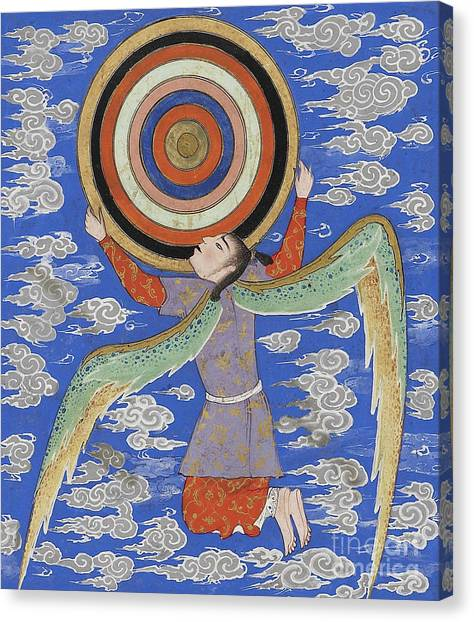 Celestial Sphere Canvas Print - The Angel Ruh Holding The Celestial Spheres by Persian School