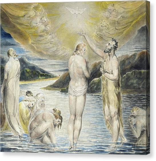 River Jordan Canvas Print - The Baptism Of Christ by William Blake
