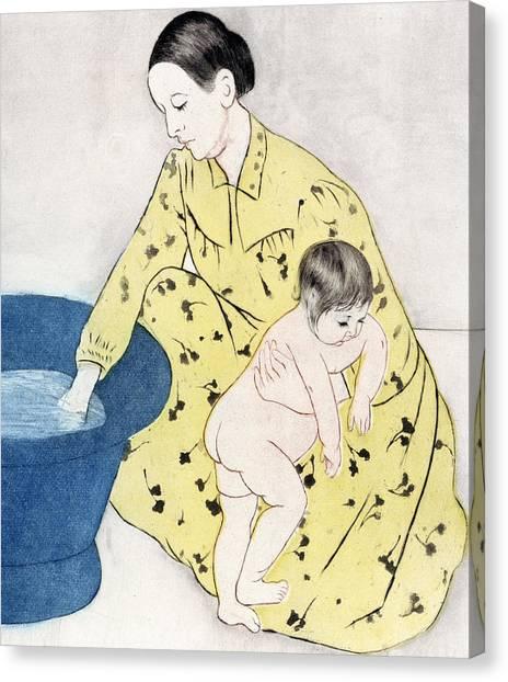 Nude Mom Canvas Print - The Bath  by Mary Stevenson Cassatt