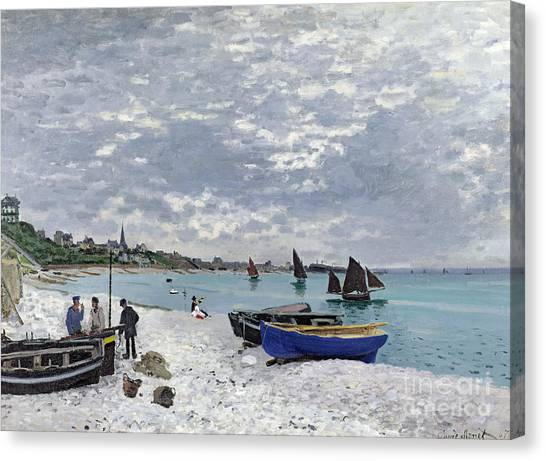 Marinas Canvas Print - The Beach At Sainte Adresse by Claude Monet
