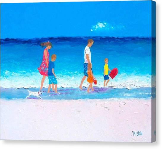 Children And Dog Canvas Print - The Beach Holiday by Jan Matson
