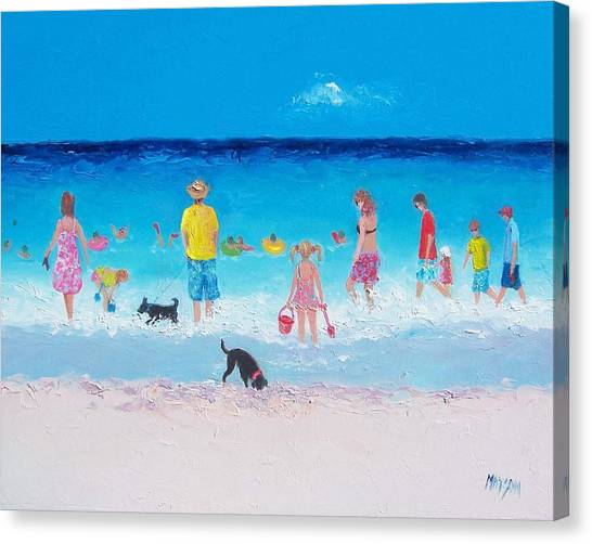 People Walking On Beach Canvas Print - The Beach Parade by Jan Matson