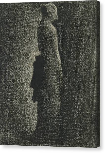 Post-impressionism Canvas Print - The Black Bow by Georges-Pierre Seurat