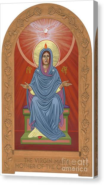 Canvas Print featuring the painting The Blessed Virgin Mary Mother Of The Church by William Hart McNichols