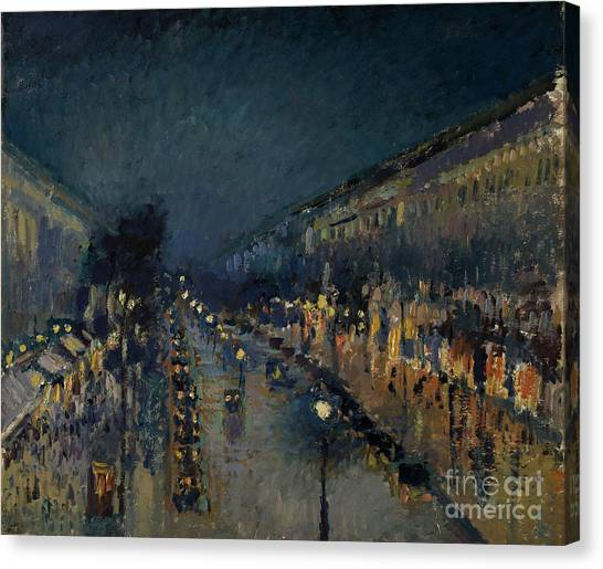 Camille Canvas Print - The Boulevard Montmartre At Night by Camille Pissarro
