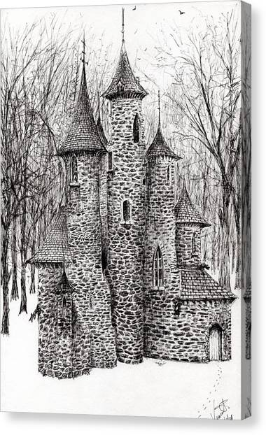 Pen And Ink Drawing Canvas Print - The Castle In The Forest Of Findhorn by Vincent Alexander Booth
