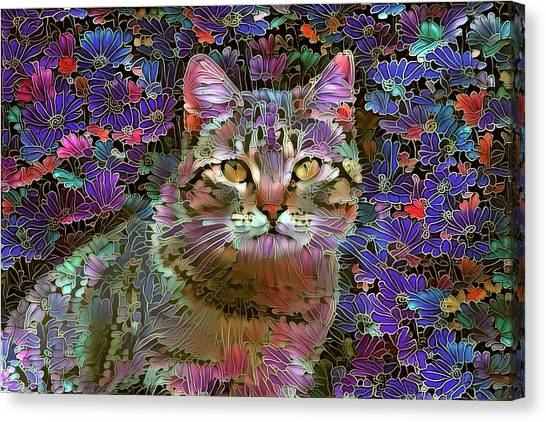 The Cat Who Loved Flowers 2 Canvas Print
