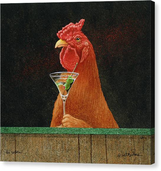 Roosters Canvas Print - The Cocktail... by Will Bullas