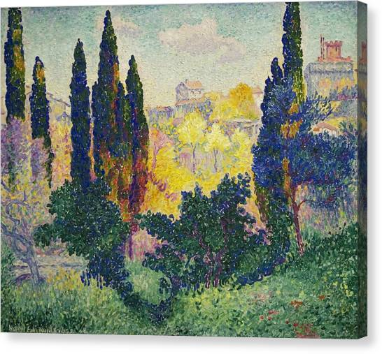 Divisionism Canvas Print - The Cypresses At Cagnes by Henri-Edmond Cross