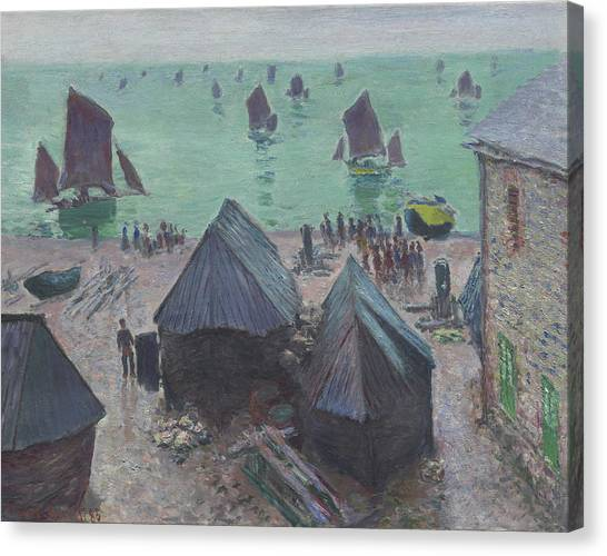 Etretat Canvas Print - The Departure Of The Boats  Etretat by Claude Monet