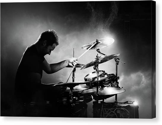 Music Canvas Print - The Drummer by Johan Swanepoel