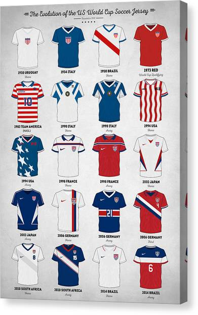 World Cup Canvas Print - The Evolution Of The Us World Cup Soccer Jersey by Zapista
