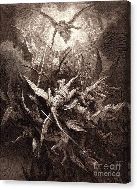 Tumbling Canvas Print - The Fall Of The Rebel Angels by Gustave Dore