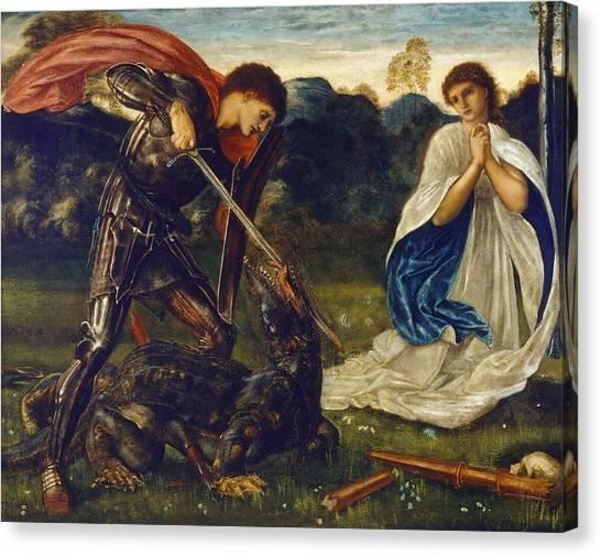 Pre-raphaelite Art Canvas Print - The Fight St George Kills The Dragon  by Edward Burne-Jones