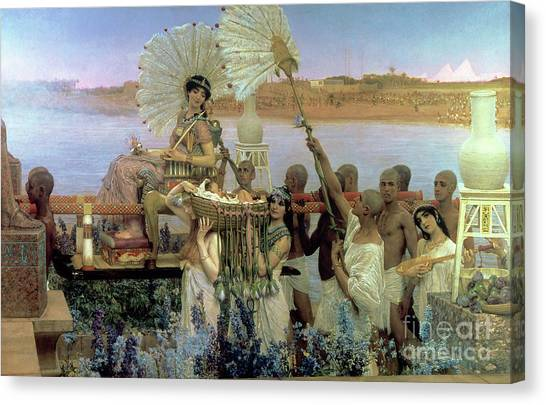 Old Testament Canvas Print - The Finding Of Moses by Sir Lawrence Alma Tadema