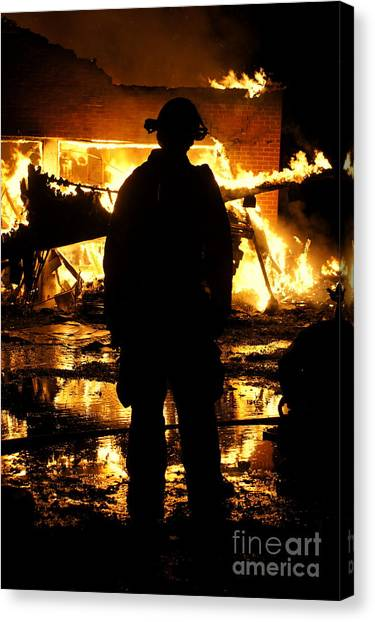 Firefighters Canvas Print - The Fireman by Benanne Stiens