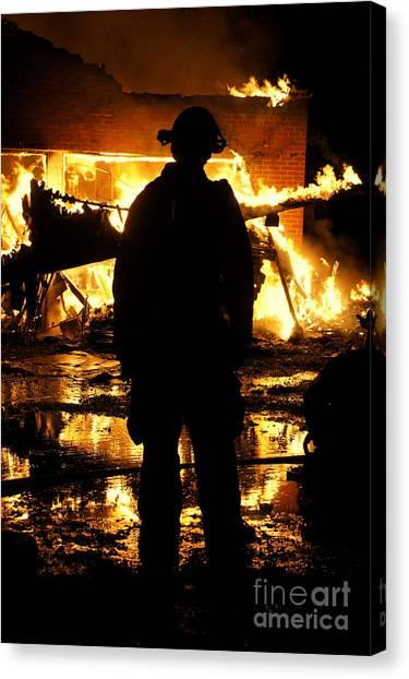 Burnt Canvas Print - The Fireman by Benanne Stiens