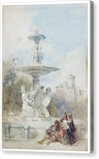 The Prado Canvas Print - The Fountain Of The Artichoke by David Roberts