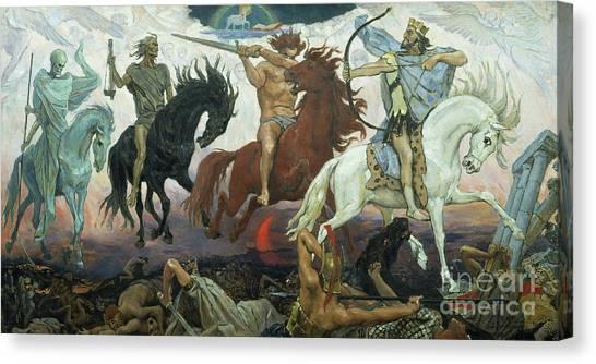 God Of War Canvas Print - The Four Horsemen Of The Apocalypse by Victor Mikhailovich Vasnetsov