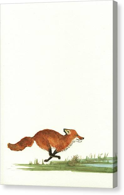 Pelicans Canvas Print - The Fox And The Pelicans by Juan Bosco