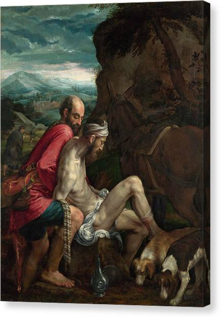 Unconscious Canvas Print - The Good Samaritan by Jacopo Bassano