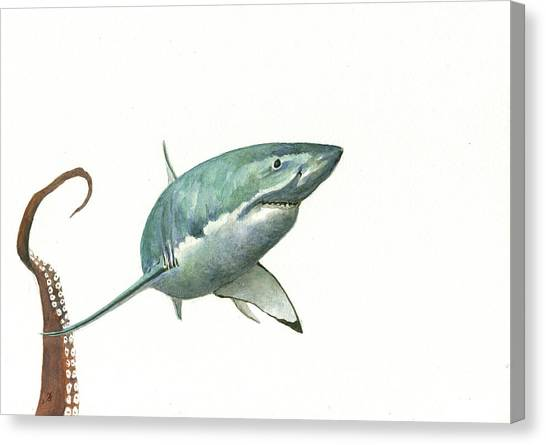 Shark Canvas Print - The Great White Shark And The Octopus by Juan Bosco