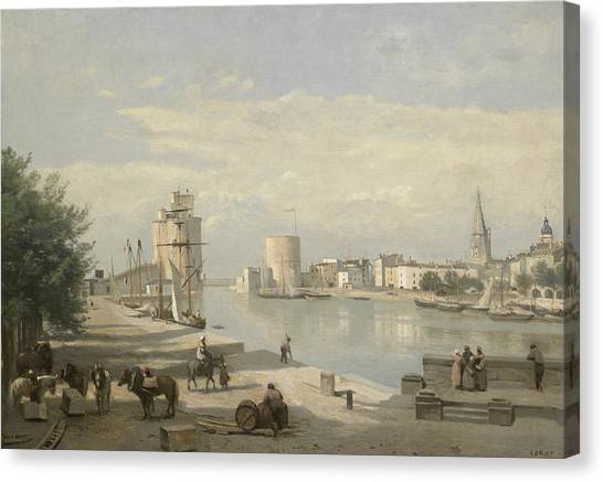 Camille Canvas Print - The Harbor Of La Rochelle by Jean-Baptiste-Camille Corot