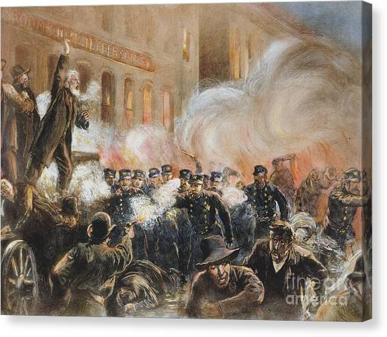 Bombs Canvas Print - The Haymarket Riot, 1886 by Granger