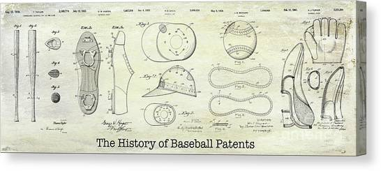 Babe Ruth Canvas Print - The History Of Baseball Patents by Jon Neidert