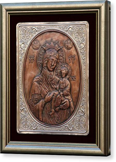 The Holly Mother With Jesus Christ Canvas Print by Netka Dimoska