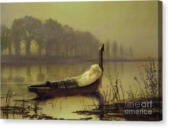 John Boats Canvas Print - The Lady Of Shalott by John Atkinson Grimshaw