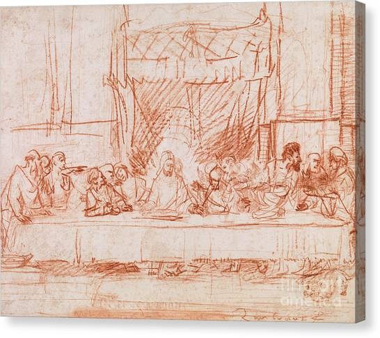 Signature Canvas Print - The Last Supper, After Leonardo Da Vinci by Rembrandt