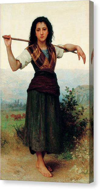 Academic Art Canvas Print - The Little Shepherdess by Adolphe William Bouguereau