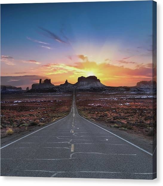Utah Canvas Print - The Long Road To Monument Valley by Larry Marshall