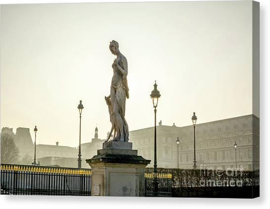 The Louvre Canvas Print - The Louvre Seen From The Garden Of The Tuileries. Paris. France. Europe. by Bernard Jaubert