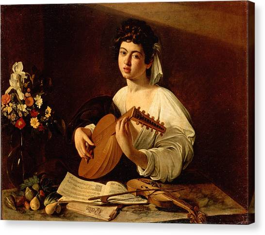 Music Canvas Print - The Lute-player by Caravaggio