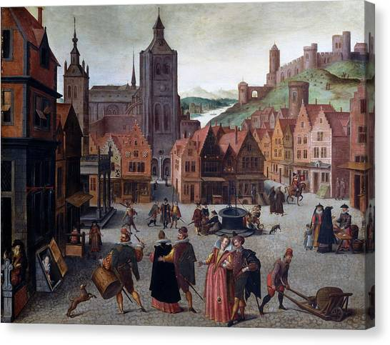 The Marketplace In Bergen Op Zoom Canvas Print