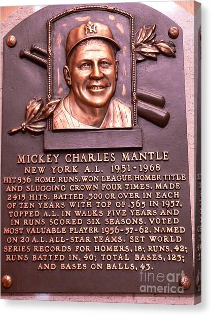 Mickey Mantle Canvas Print - The Mick by David Bearden