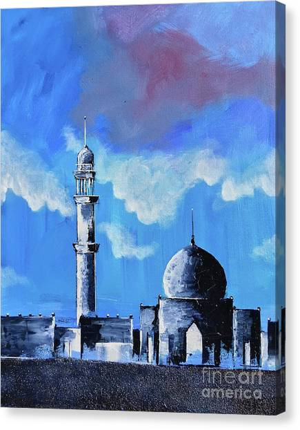 Canvas Print featuring the painting The Mosque by Nizar MacNojia
